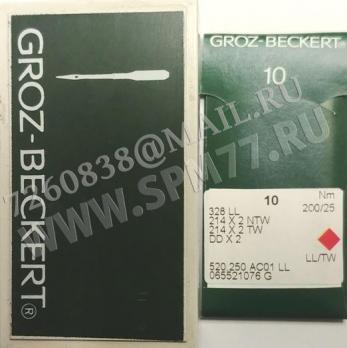 328  LL Иглы № 200/25 GROZ-BECKERT DD x 2 , 214 x 2 NTW , 214 X2 TW , 0755-33