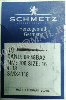 4118 иглы № 100/16 SCHMETZ  SM X 4118 CANU 08:48BA2 для CONTI COMPLETT, ROSSO HORIZON, EXACTA FUTARA, LINEAR