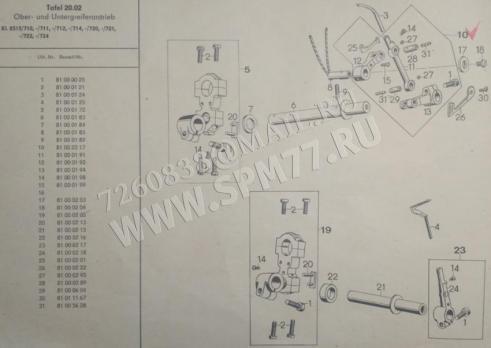 81002217 Механизм правого петлителя/ширителя ALTIN 8515 (GERMANY)